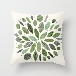 Mid-Century Green Leaves Throw Pillow