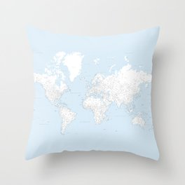 World map, highly detailed in light blue and white, square Throw Pillow