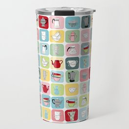 Retro Coffee Pots and Cups Pattern Travel Mug
