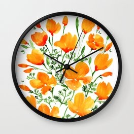 Watercolor California poppies Wall Clock