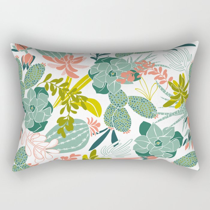 Succulent Garden White Rectangular Pillow