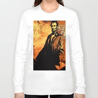 lincoln Long Sleeve T-shirts featuring Abraham Lincoln by Saundra Myles