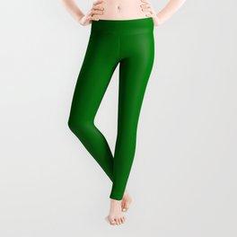 Christmas Holly and Ivy Green Velvet Color Leggings