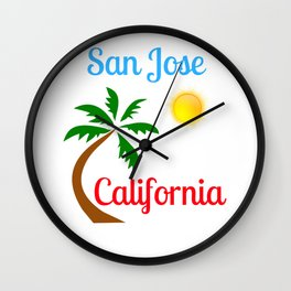 San Jose California Palm Tree and Sun Wall Clock