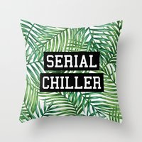 tupac Throw Pillows featuring Serial Chiller by Text Guy