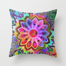 Rainbow Flower Pink Throw Pillow