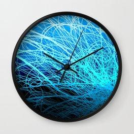 Cyan Linear Explosion2 Wall Clock