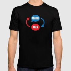 """""""think - talk"""" Mens Fitted Tee Black MEDIUM"""