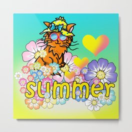 Cute ginger cat loves summer Metal Print
