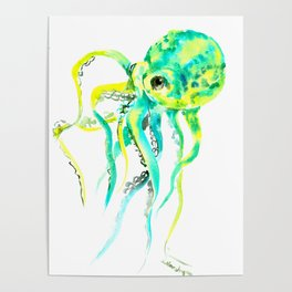 Octopus, yellow, turquoise green octopus lover art Poster