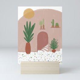 Abstract Boho Plants House Mini Art Print