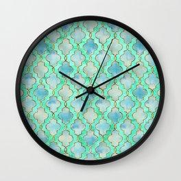 Luxury Aqua Teal Mint and Gold oriental quatrefoil pattern Wall Clock