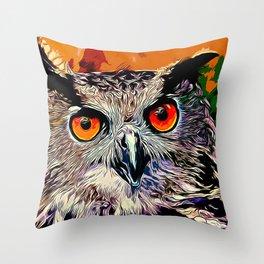 owl strix bird v2 vector art Throw Pillow