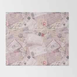 Nostalgic Letter and Postcard Collage Soft Pink Throw Blanket
