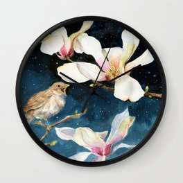 Night Music, Nightingale and Magnolias on Dark Sky, Stary Night Wall Clock