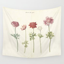 Five studies of anemones, anonymous, c. 1760 - c. 1770 Wall Tapestry