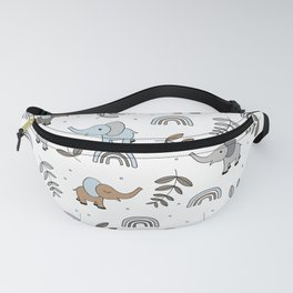 Little Elephant safari rainbow love neutral nursery Fanny Pack