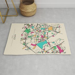 Colorful City Maps: Hanoi, Vietnam Rug