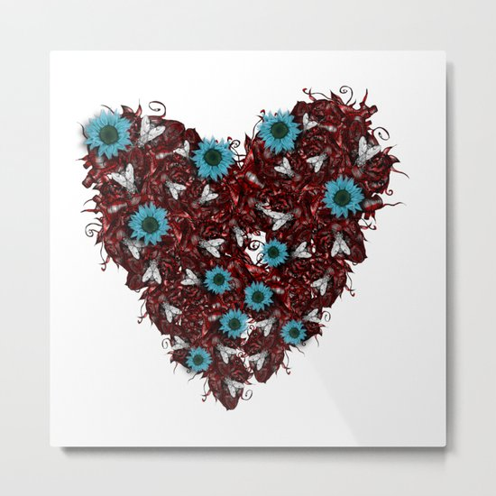 Flesh Heart, Flyes and Flowers Metal Print