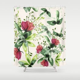 Fashion textile floral vector pattern with rustic clover flowers Shower Curtain