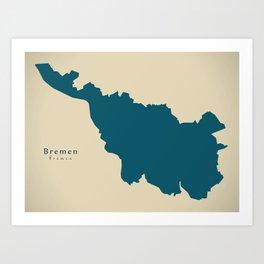 Modern Map - Bremen DE Art Print