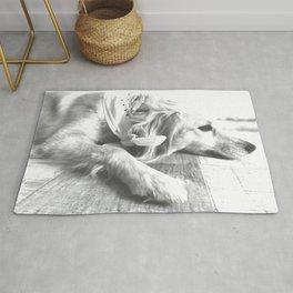 Sweet dog laying down Rug
