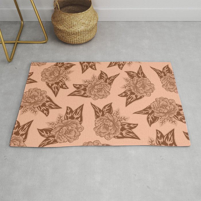 Cabbage Roses In Rust Rug By