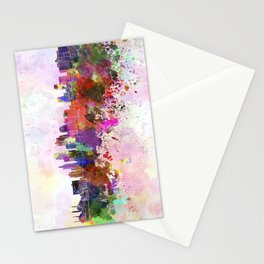 Kansas City skyline in watercolor background Stationery Cards