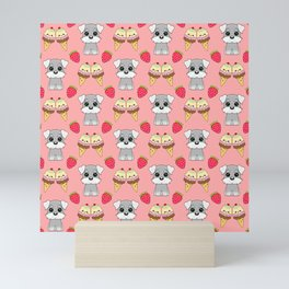 Cute happy funny baby Schnauzer puppy, sweet adorable yummy colorful Kawaii ice cream cones and red summer strawberries cartoon pastel coral red pattern design Mini Art Print