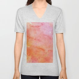 Pink orange yellow watercolor abstract pattern Unisex V-Neck