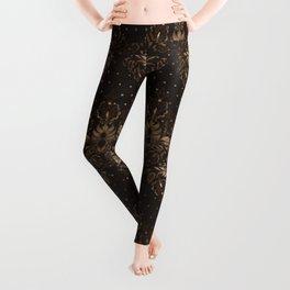 Persian Oriental pattern wood and gold Leggings