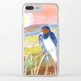 Sunset and Swallow Clear iPhone Case
