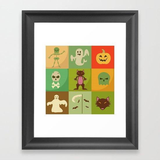 Halloween monsters Framed Art Print