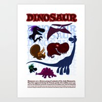 cartoons Art Prints featuring Dinosaur Cartoons by Cartoonasaurus