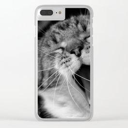 Cat yawn Clear iPhone Case