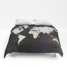 Newsprint World Map Comforters