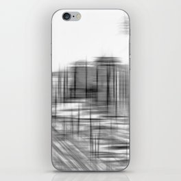 pencil drawing buildings in the city in black and white iPhone Skin