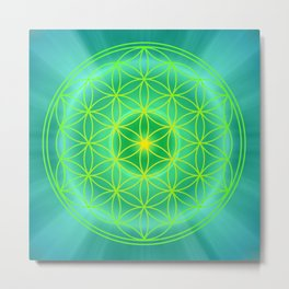 Flower Of Life Mandala - Green Metal Print