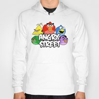 sesame street Hoodies featuring Angry Street: Angry Birds and Sesame Street Mashup by Olechka