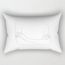 Minimal Drawing of Woman Crossing Arms Rectangular Pillow