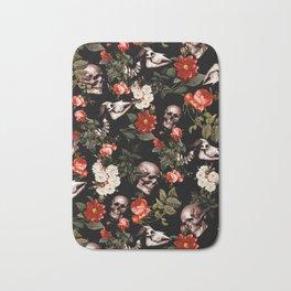 Floral and Skull Dark Pattern Bath Mat