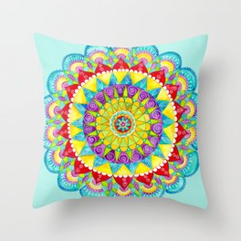 Mandala of Many Colors on Turquoise Throw Pillow