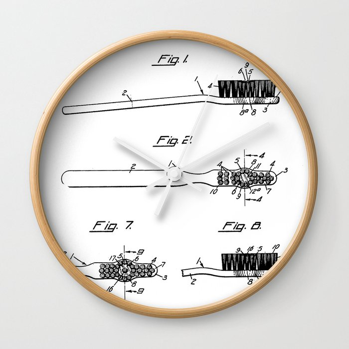 Toothbrush Patent Bathroom Art Black And White Wall Clock By