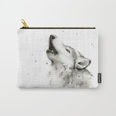 Wolf Howling Watercolor Animals Wildlife Painting Animal Portrait Carry-All Pouch