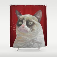 grumpy Shower Curtains featuring Grumpy Red by beart24