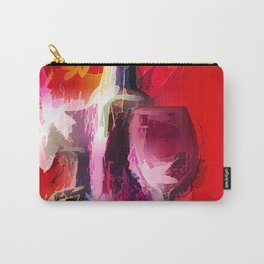 Fun Colorful Modern Wine Art (wine bottle & glasses) #society6 #wine Carry-All Pouch