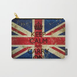 Scratched Metal/Grunge Keep Calm and Carry On Union Jack Carry-All Pouch