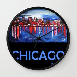 Retro Travel Poster Chicago Illinois Wall Clock
