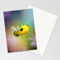 Bee Flying On Colour Sky Stationery Cards