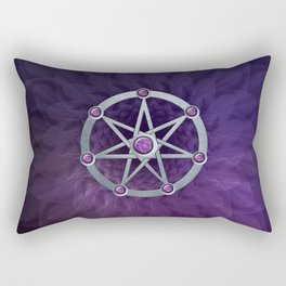 Elven star SIlver embossed with Amethyst Rectangular Pillow